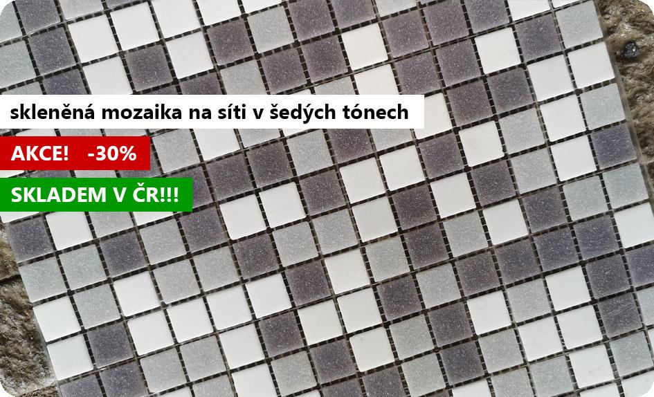 skleněná mozaika Shine na síti šedobílá