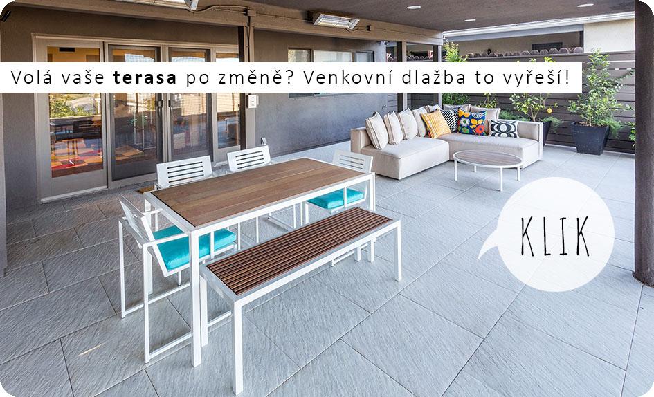 Dlažba velkoformátová na terasu a balkon Vinci projekt