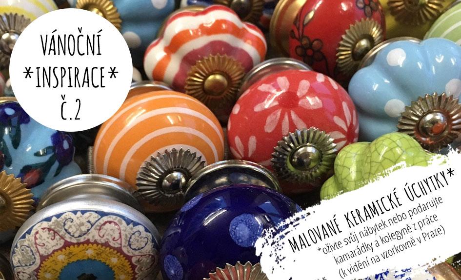 keramické úchytky malované vintage