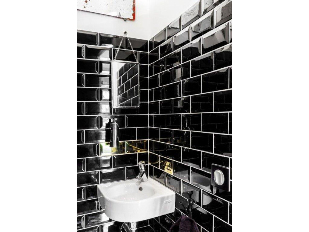 obklady do koupelny obdelnik cerne prolamovane 3D 01