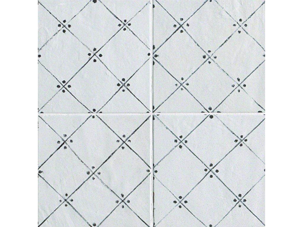 fap firenze heritage maiolica bianca.deco antracite 20x20 obklady dekor