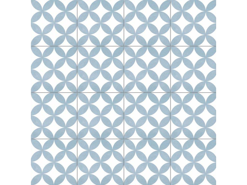 Neocim Décor Fleur Ciel dlažba slinutá s dekorem světle modrá 20x20