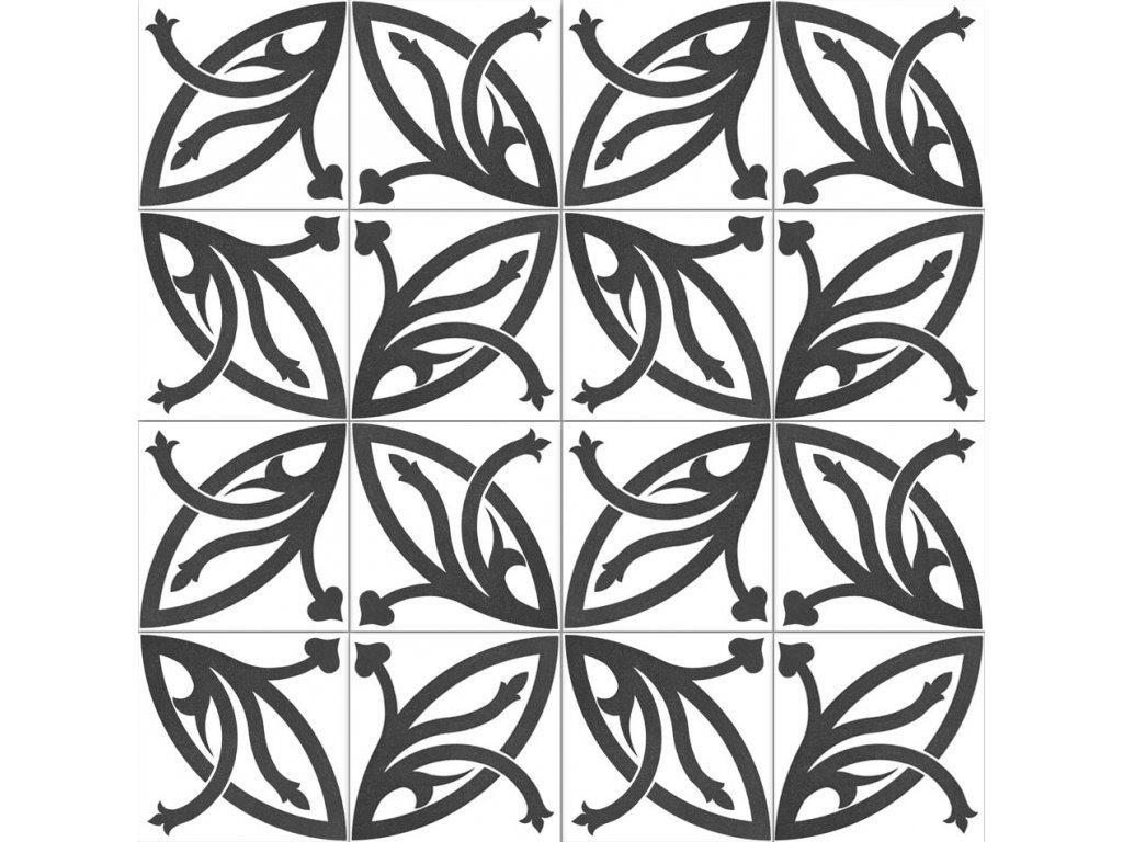 Neocim Décor Lis Noir dlažba slinutá s dekorem v černé 20x20