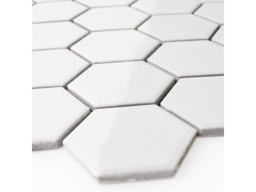 mozaika bila hexagonalni velka na siti leskla 01