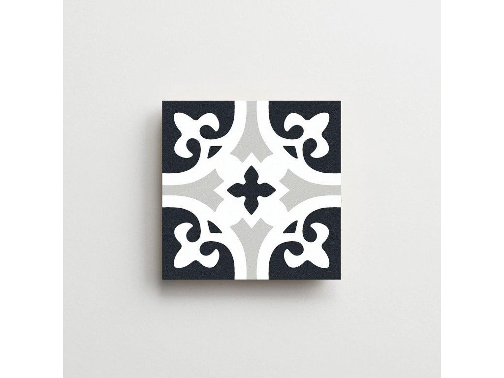 element dlazba obklady dekory cerno bile modre retro historicka lily