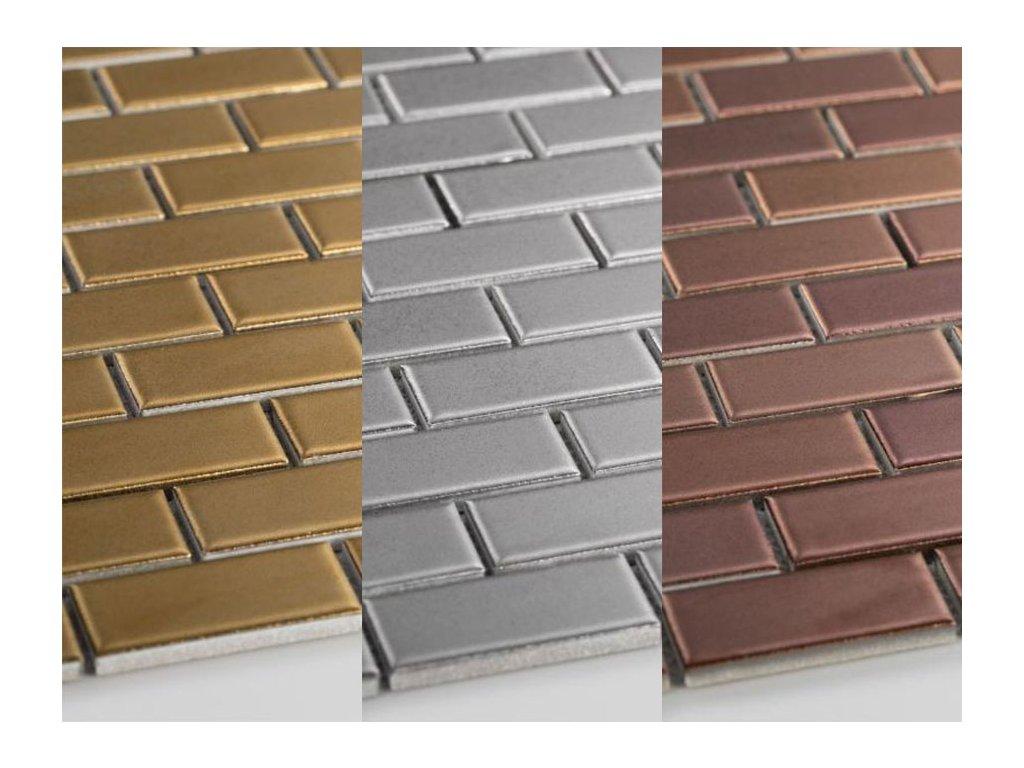 Obdélník mozaika metalická na síti 30x30 cm různé barvy