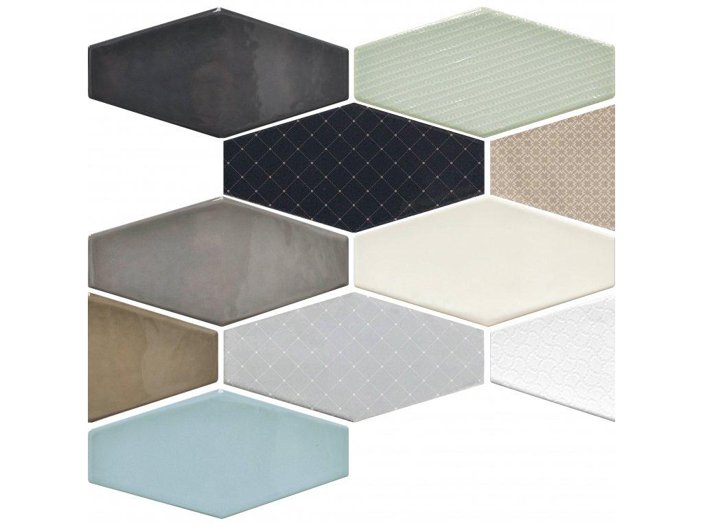 viena obklady sestiuhelnik hexagon jednobarevne vzory reliefni retro 09