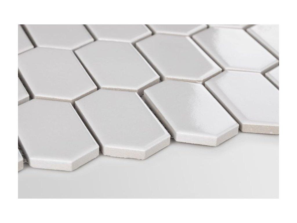 mozaika hexagon podlouhly sestiuhelnik svetle seda lesk 01