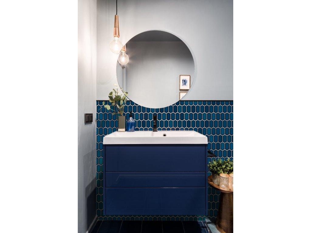 Raw decor mozaika hexagonum modrá lesklá 1