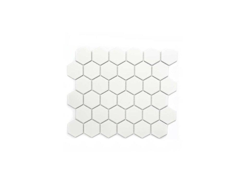 mozaika bila hexagonalni na siti matna 01