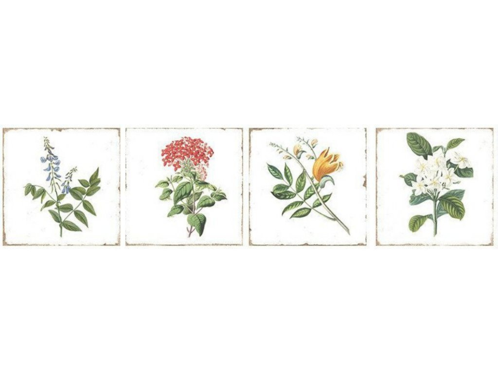 Forli Flowers Decor obklad lesklý bílý postaršený s dekorem květin 20x20 cm