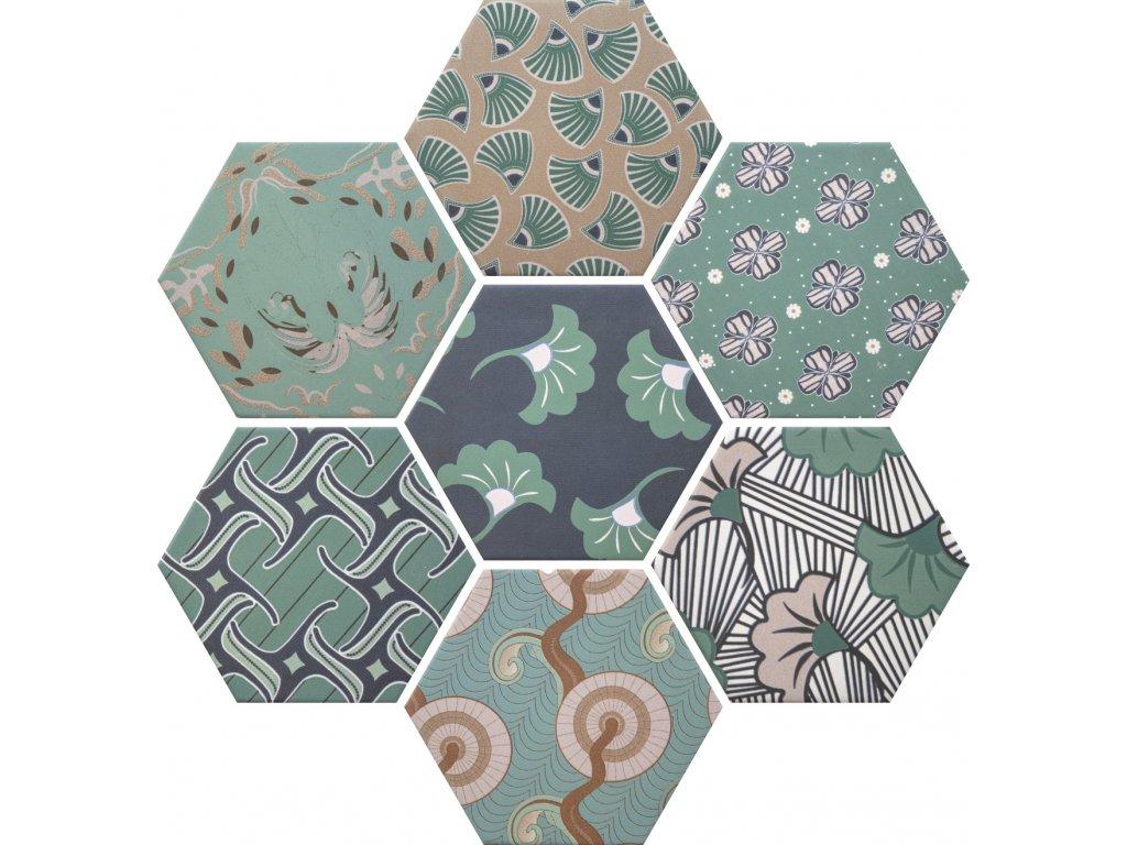 good vibes dlazba obklady hexagonalni dekory mix patchwork