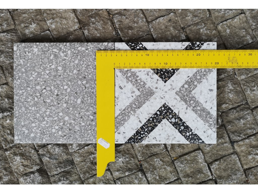 dlazba terrazzo foto s meritkem 20x20 vinci obklady