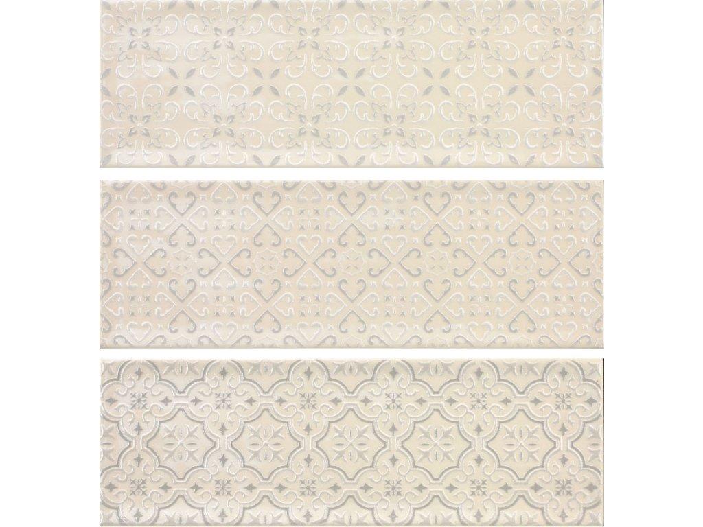 luna crema obklady obdelnik kremova bezova dekory relief 30x10 04