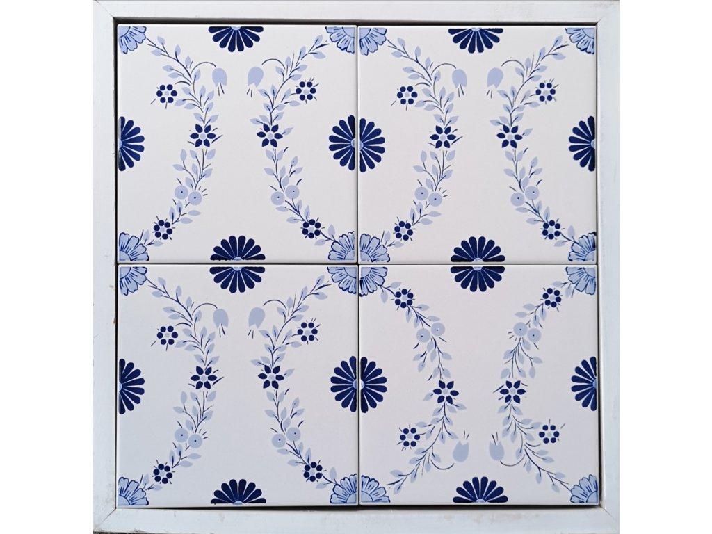 obklad genova s dekorem modrych kvetu 20x20 sitotisk vinciobklady