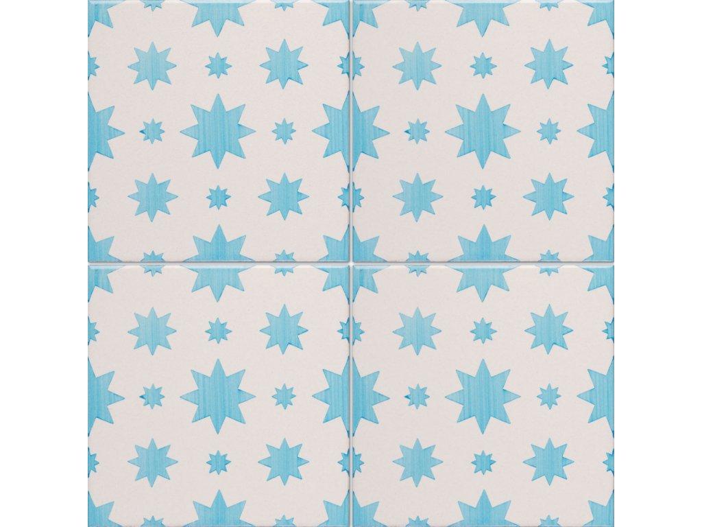 obklady rucne malovane modro bile dekor filicudi 168