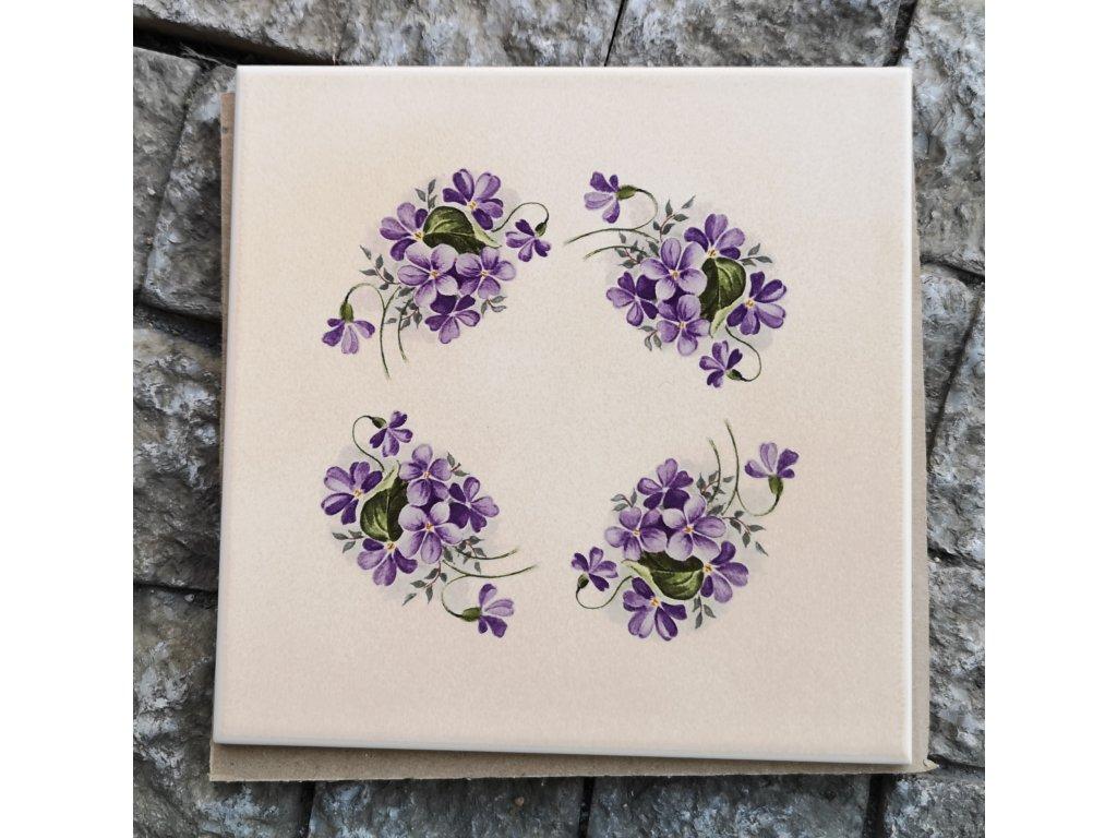 obklad dekor fialky bezovy matny 15x15 vinci obklady