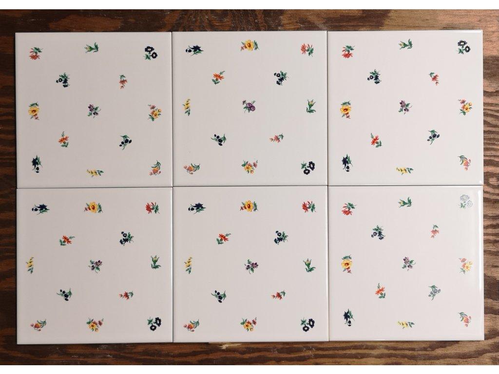 obklad bily leskly s dekorem kvitku 15x15 lesk vinciobklady