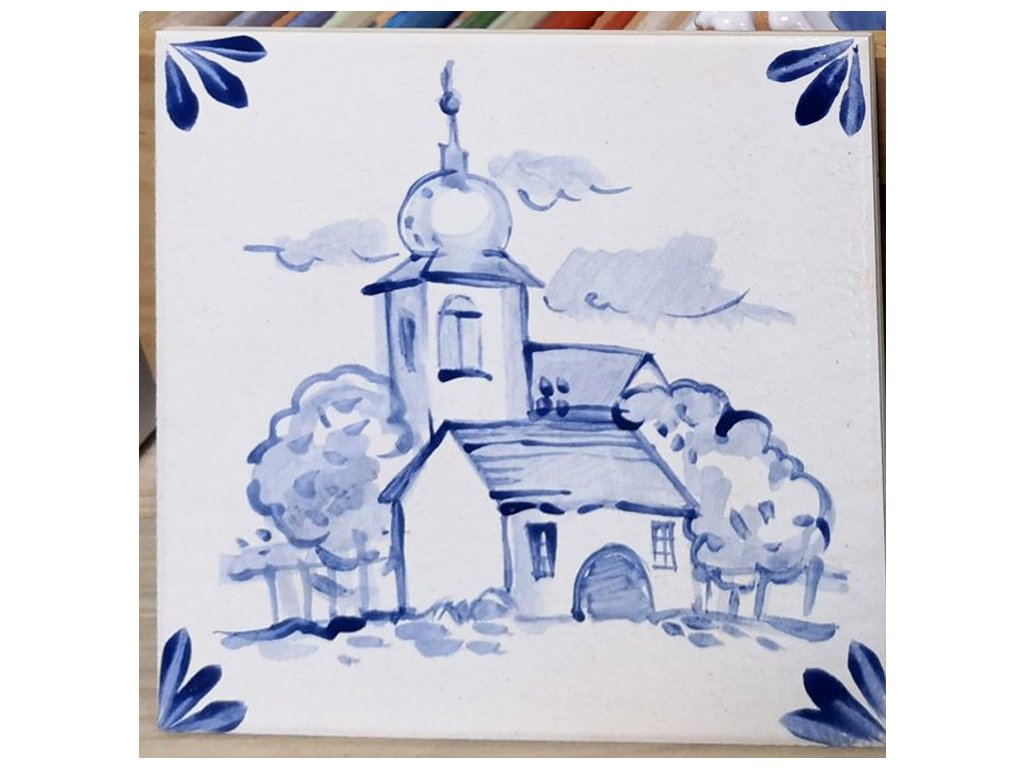 rucne malovane obklady selske modrobile kostelicek