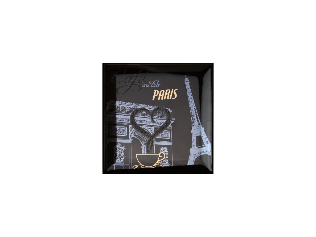 Obklad do interiéru dekorovaný lesklý černý Paříž coffee platinum 15x15