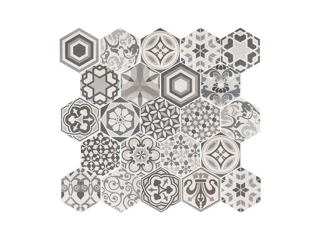 hexatile harmony black white dlazba obklady hexagony patchwork dekory 07