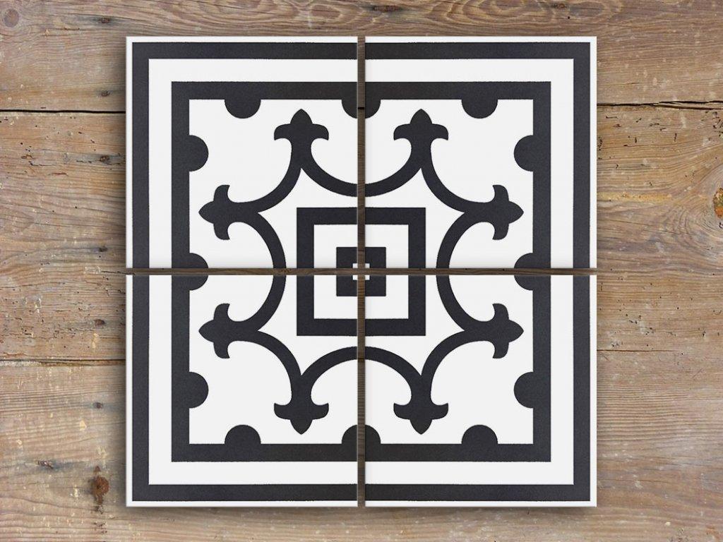 neocim classic dlazba odolna 20x20 dekor historicka retro faixa canto noir c 06