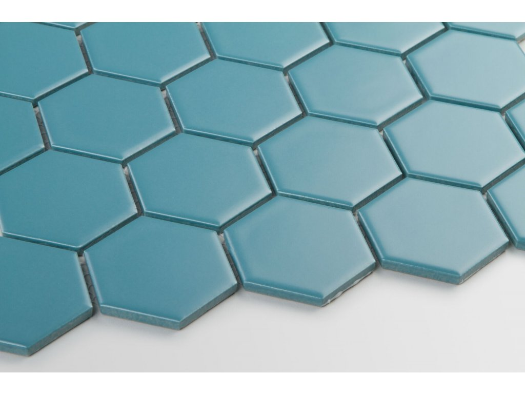 mozaika hexagon velky modra pavi mat 08