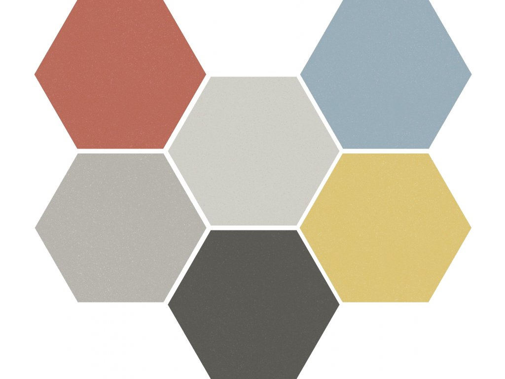 paprika dlazba hexagonalni jednobarevna dekory vzory retro 01