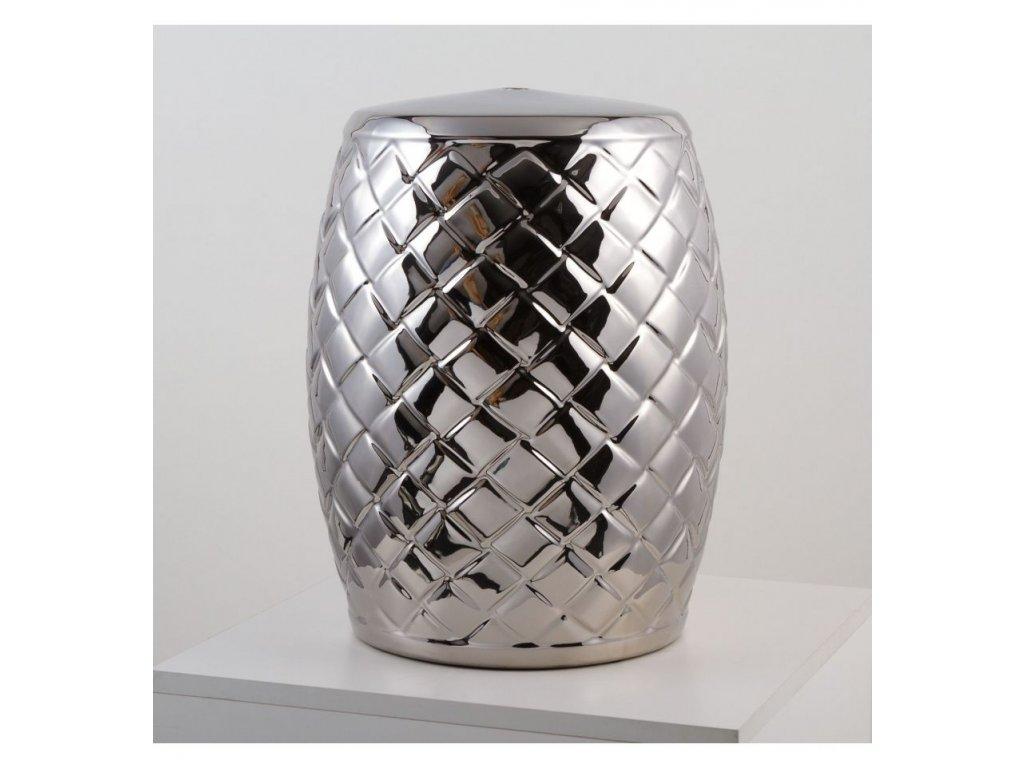 stolek keramicky stribrny leskly s plastickymi kosodelniky vinciprojekt