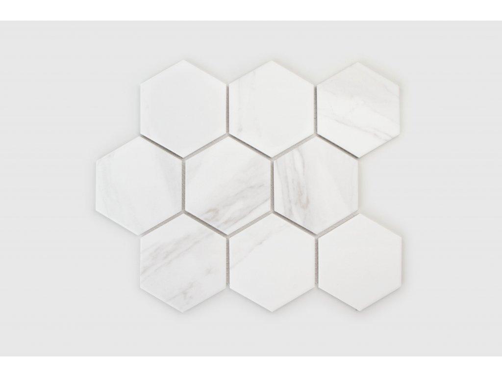 Marble Heksagon XL mozaika do interiéru v imitaci mramoru keramická matná 2