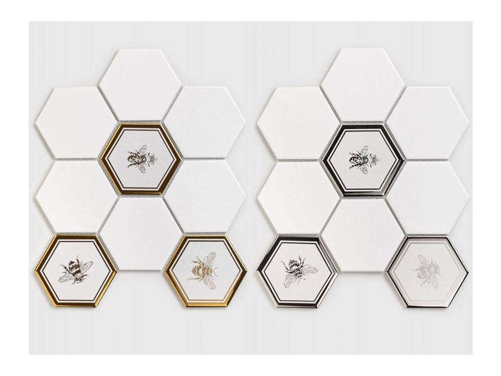 mozaika vcely stribrna zlata hexagon sestiuhelnik 03
