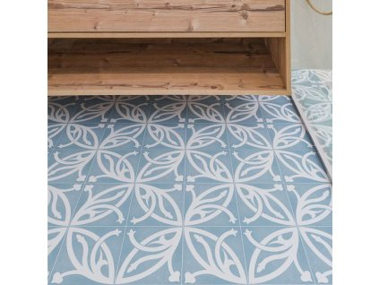 neocim plus fleur dlazba odolna retro modrobila dekor orientalni 20x20 08