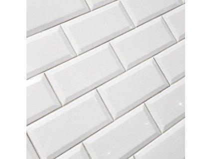 monocolor obklady jednobarevne 10x20 prolamovane skosene bezova bianco brillo bisel 10