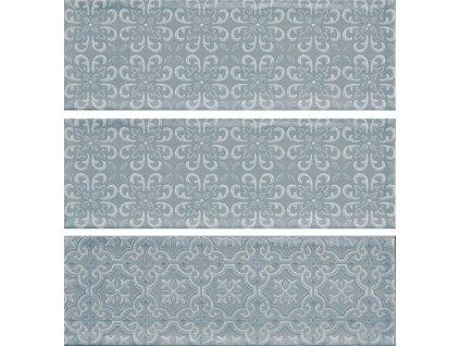 luna blue obklady obdelnik modre dekory relief 30x10 04