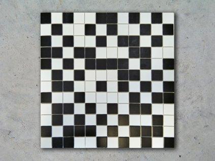 mozaika cerno bila ctverecek kosticka na siti jednobarevna 01