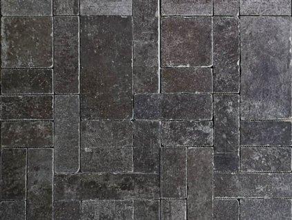 mozaika kamenna nepravidelna cerna seda tmava matna