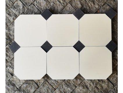 Hand nade cementová dlažba a obklad octagon s črným tozzetem, barva bílá, Vinci projekt Eshop