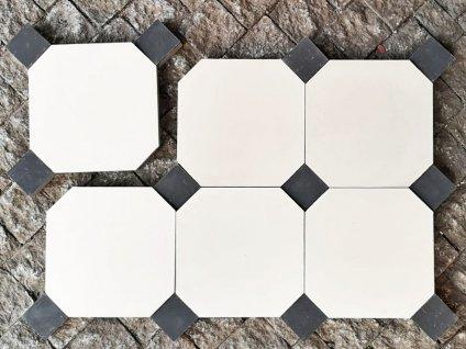 cementova dlazba a obklad format bily oktagon s cernou kostickou rucni prace da vinci eshop 01