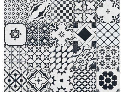 dlazba obklady cernobile dekor patchwork white mix xclusive re style