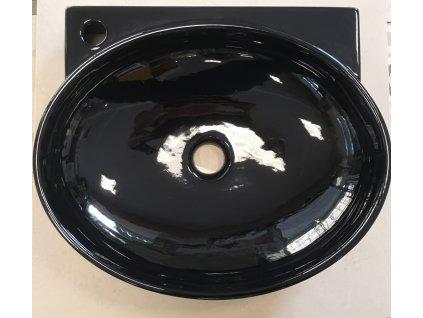 Designové keramické umyvadlo oválné černé lesklé