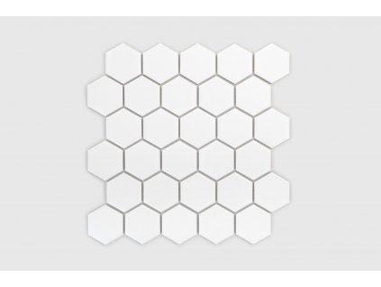 mozaika hexagon velky bila matna 22
