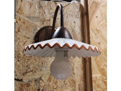 nastenna lampa uchyt zelezo natreno rez provenzal s plizovanym keramickym talirem AP44 ruggine