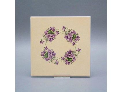 obklad bezova matny s dekorem fialky 15x15cm
