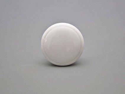 uchytka keramicka porcelanova nopka malovana jednobarevna bila kulata