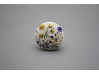 Porcelánová úchytka - knopka slonová kost s dekorem kvetoucí louky o rozměru 35 mm