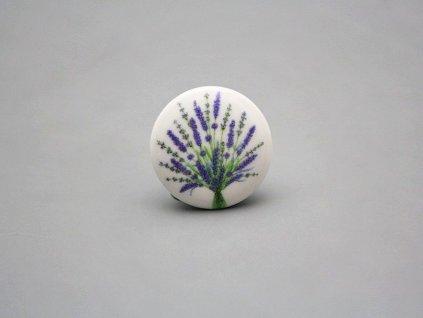 uchytka keramicka porcelanova nopka malovana levandule