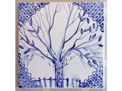 rucne malovane obklady selske modrobile strom zivota