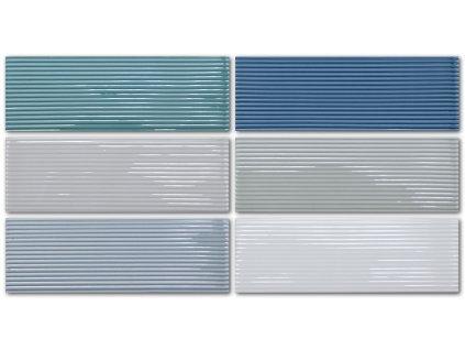 Extruded Lines obklady obdélníkové jednobarevné 3D 5x15 lesk - 6 barev