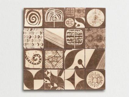 antic obklady dekor malovane handmade shibori tabaco 13x13 01