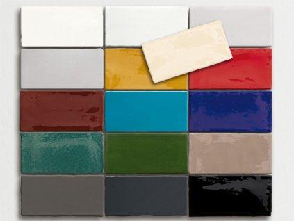 antic obklady malovane handmade jednobarevne 7 5x15